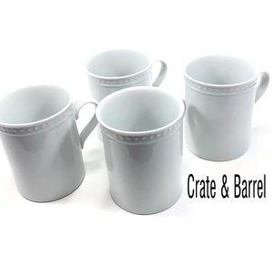 Crate & Barrel 4 Piece Set Staccato White Mugs